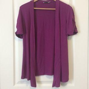 Revolution purple short sleeve open cardigan
